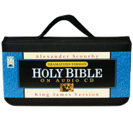Front view - King James Bible Complete on 59 CDs, dramatized version by Alexander Scourby, showing carrying strap.