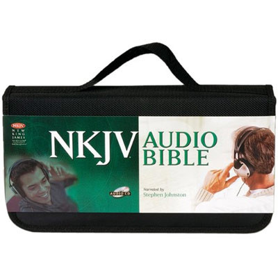 Front view - New King James Bible Complete on CD, dramatized by Stephen Johnston, showing carrying strap.