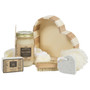 Includes 2 mesh soap loofahs and nail brush and heart-shaped pumice stone