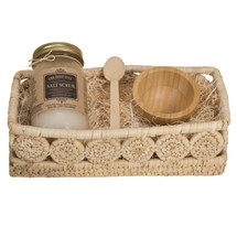 Holy City Revitalizing Dead Sea Salt Hand and Body Scrub Gift Set Comes with A Palm Medallion Bread Basket to complete the gift
