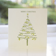 Mistletoe Tree Letterpress Christmas Card