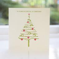 Mistletoe & Hearts Letterpress Christmas Card