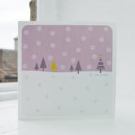 Snowfall - Pink Christmas Card