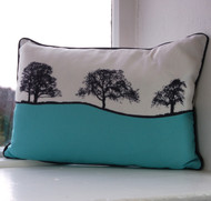 Burnsall Landscape Cushion - Turquoise
