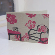Comfy Chair & Transistor Letterpress Greeting Card