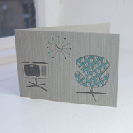 Swan Chair & TV Letterpress Greeting Card