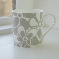 Grey Floral Bone China Mug