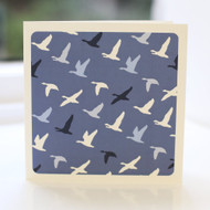 Flying Ducks Blue Greeting Card