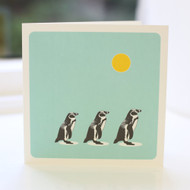 Penguins Turquoise Greeting Card