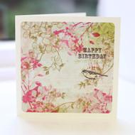 Vintage Bird Pink Greeting Card
