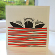 Ships Greeting Card - Red