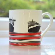 Ships Bone China Mug - Red