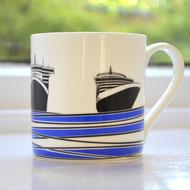 Ships Bone China Mug - Blue