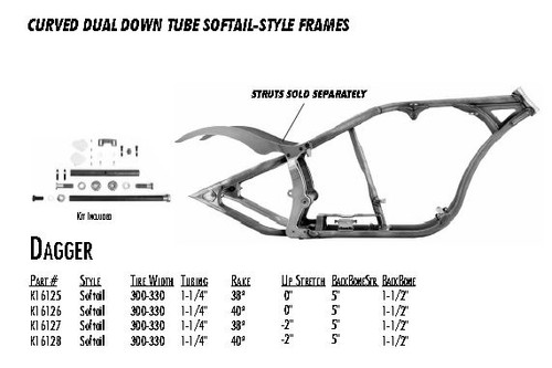 "Dagger / Softail Style 300/330 DDT / 1-1/4"" 38 Rake -2"" Stretch 5"" BBS 1-1/2"" Backbone"