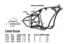 "Curved Dagger / Softail Style 300/330 DDT / 1-1/4"" 40 Rake -2"" Stretch 5"" BBS 1-1/2"" Backbone"