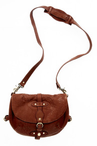 [Sample] Donatello, brown leather handbag with shoulder strap