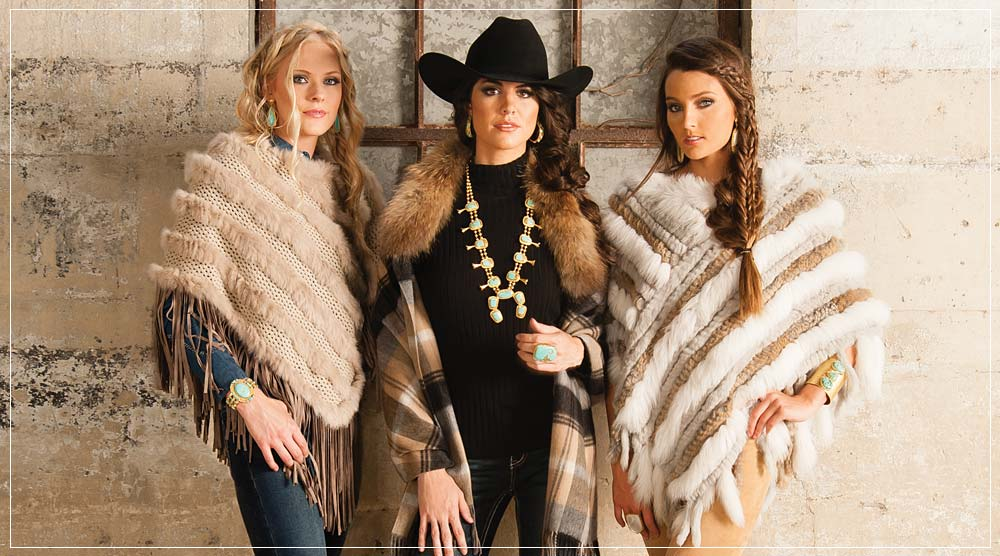 Ladies Fur Ponchos