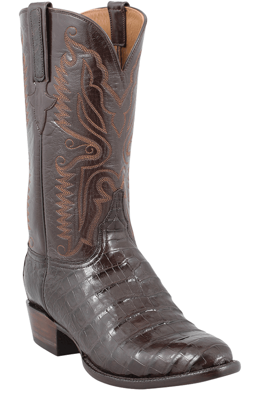 Lucchese Men's Chocolate Ultra Caiman Crocodile Boots - Hero