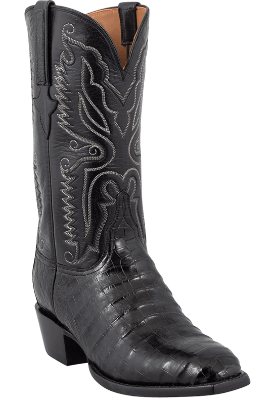 Lucchese Men's Black Ultra Caiman Crocodile Boots - Hero