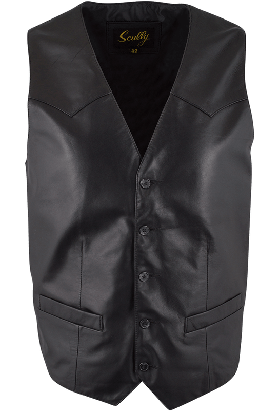 Scully Lambskin Vest - Black - Front