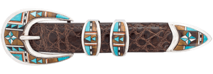 "B.G. Mudd Turquoise and Jasper Oval 1"" Buckle Set"