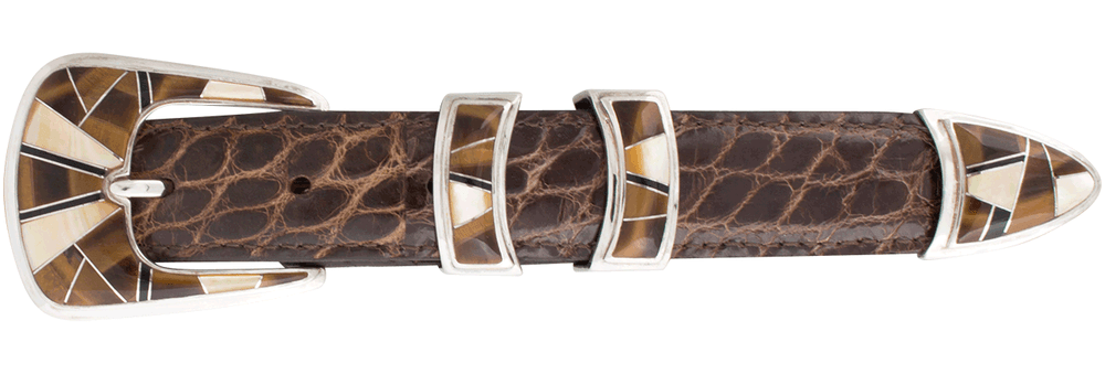 """B.G. Mudd Tiger Eye and Mother of Pearl 1"""" Buckle Set"""