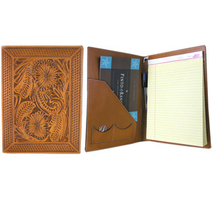 Office - Tooled Notepad Holder - Tan