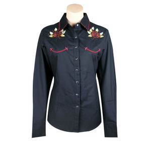 Embroidered Roses Snap-Button Shirt by Cattelac Ranch