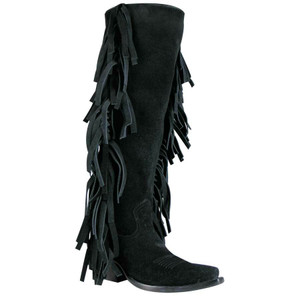 Rocketbuster Women's Black Tall Fringe Boots