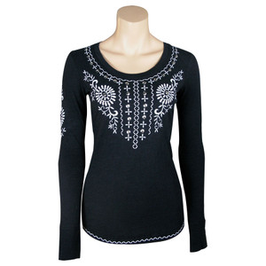 Black Shirt with White Embroidery