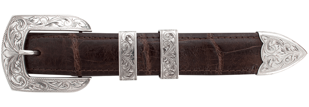 "Sunset Trails Engraved Sterling Silver 1"" Buckle Set"
