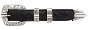 "Sunset Trails Sterling Silver Bars Engraved 1"" Buckle Set"