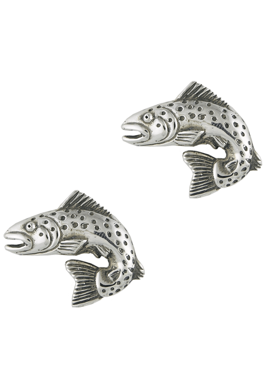 Pinto Ranch Trout Silver Cufflinks