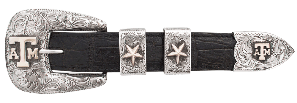 """Texas A&M University Gold and Silver Engraved 1"""" Buckle Set"""