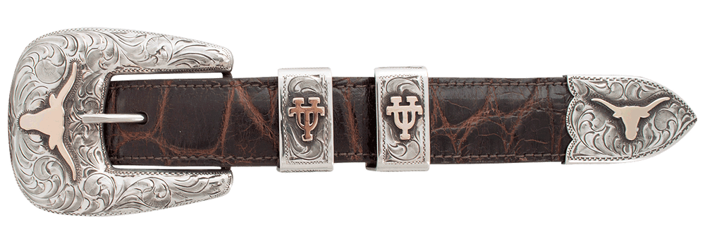"University of Texas Bevo Gold and Silver 1"" Buckle Set"