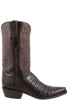 Lucchese Mens Ultra Caiman Crocodile Boots - Chocolate with Snip Toe - Side