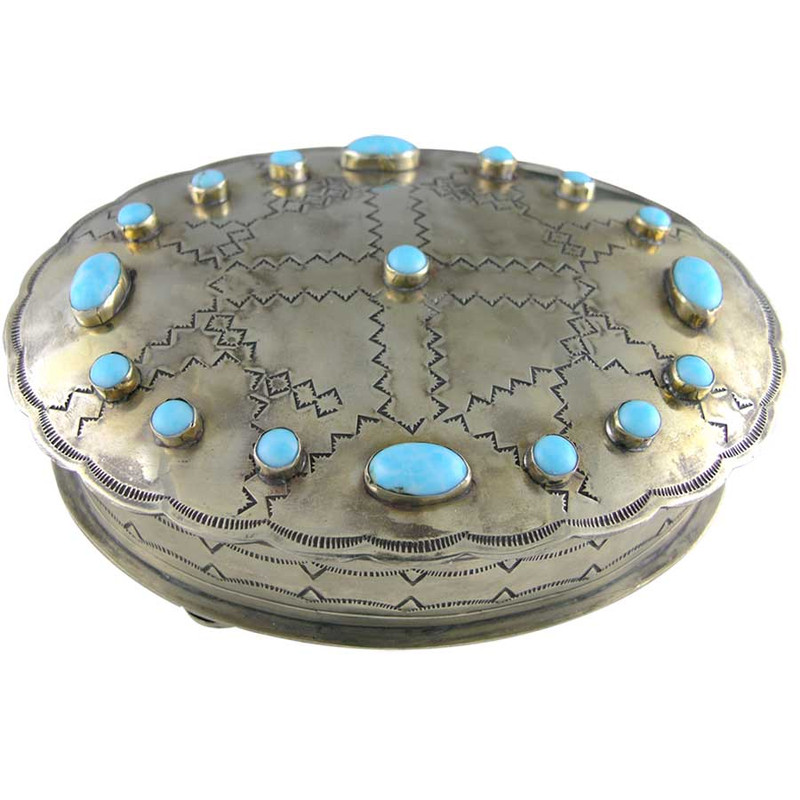 Home - Silver Stamped Oval Box with Turquoise