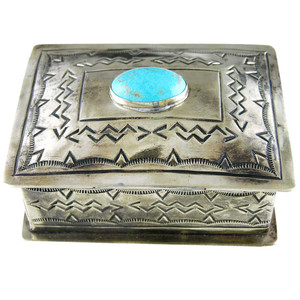 Home - Silver Stamped Box with Arrow Design