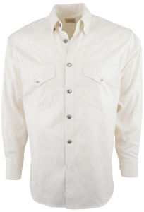 Stubbs - Mens Solid Western Shirt - Ecru - Front