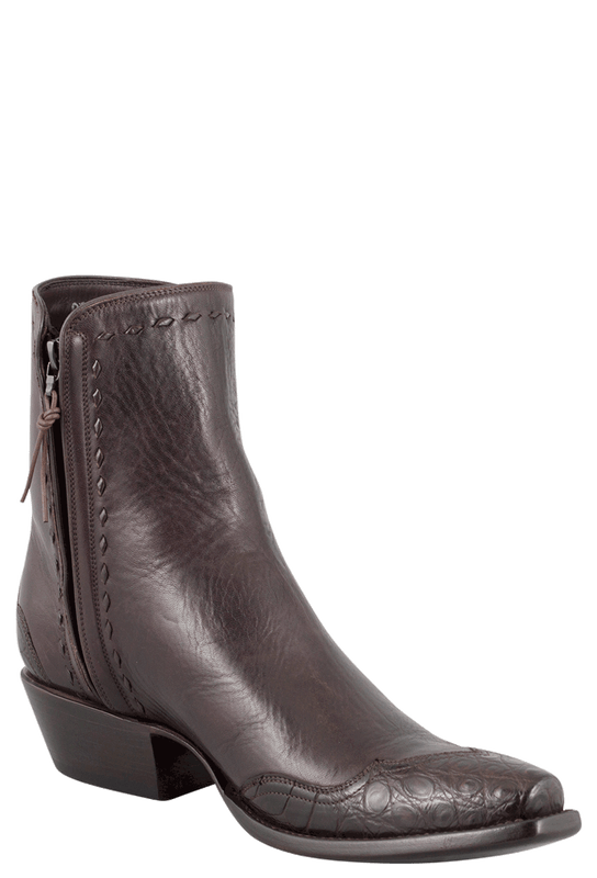 Stallion Men's Zorro Chocolate Crocodile Ankle Boots - Hero