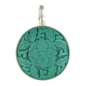 Charm - Teal Carved Flower Charm
