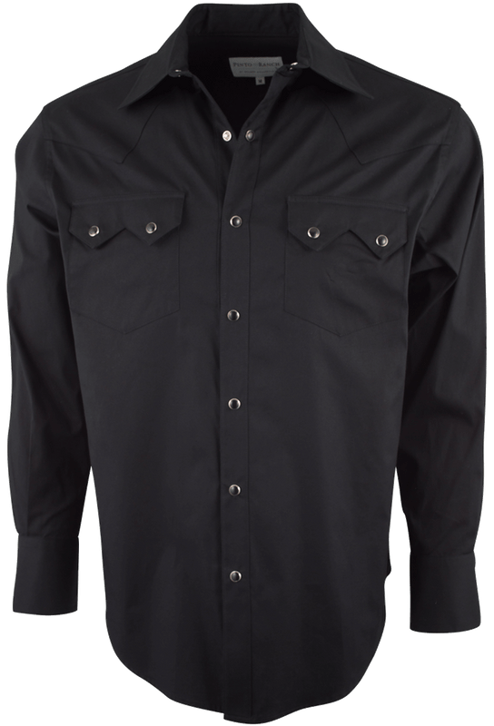 Pinto Ranch by Stubbs Classic Black Pinpoint Western Snap Shirt - Front