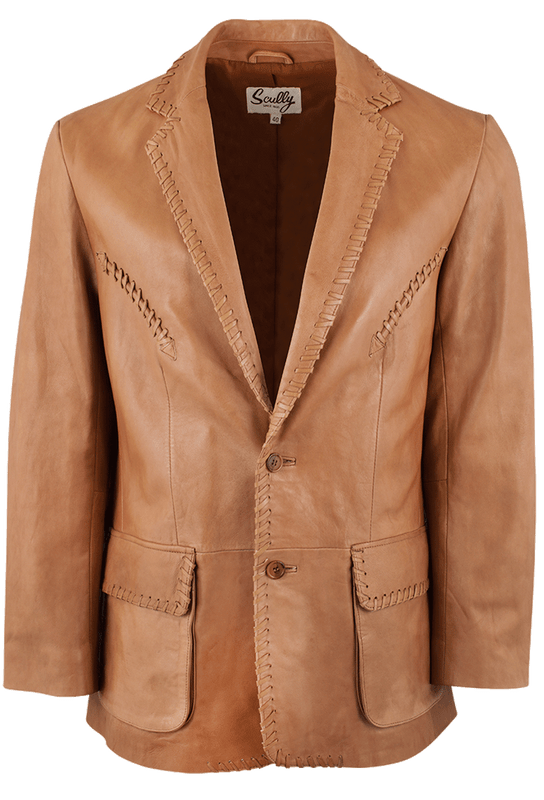 Scully Whipstitch Lamb Ranch Blazer - Tan - Front