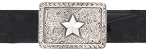 "Pinto Ranch Sterling Silver Star 1 1/2"" Trophy Buckle"