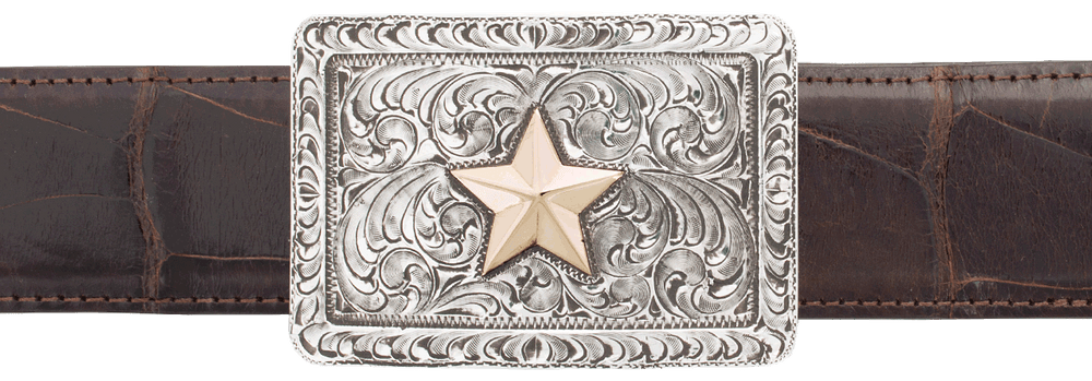 """Pinto Ranch Engraved 14K Gold Star 1 1/2"""" Trophy Buckle"""