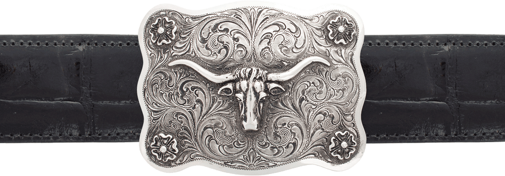 "Silver King Scalloped Longhorn 1 1/2"" Trophy Buckle"