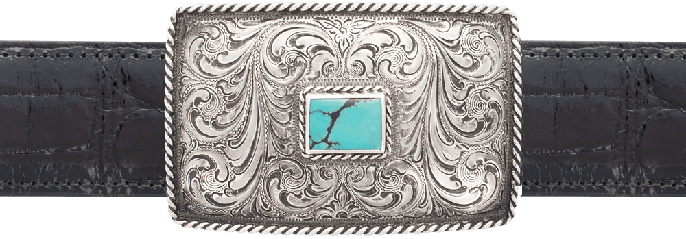 """Silver King Roped Turquoise 1 1/2"""" Trophy Buckle"""