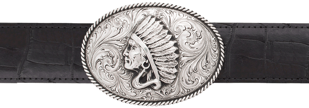 "Silver King Oval Chief 1 1/2"" Trophy Buckle"