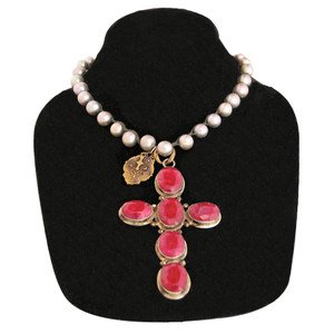 Necklace - Silver Pearl with Ruby Cross Necklace