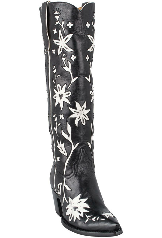 Liberty Boot Co. Women's Black and White 60's Cowgirl Boots - Hero